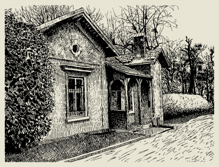 farmhouse: hand drawing sketchy artistic village landscape composition with old building  I am author of this illustration