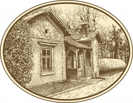 old barn: disegno a mano abbozzato artistica composizione villaggio paesaggio con la costruzione Io sono autore di questa illustrazione