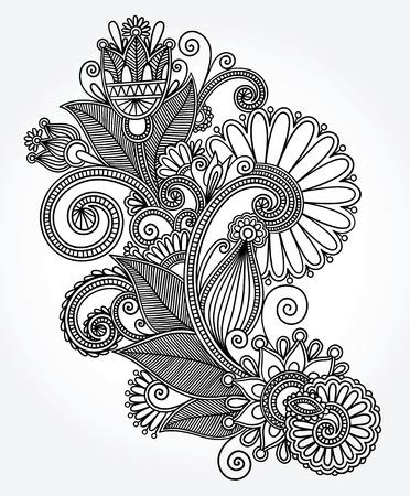 paisley: originale a mano draw line art design in stile ornato floreale ucraina tradizionale Vettoriali