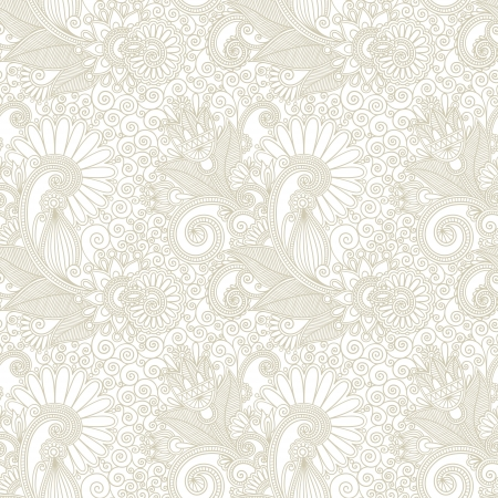 tiling background: hand draw ornate seamless flower paisley design background