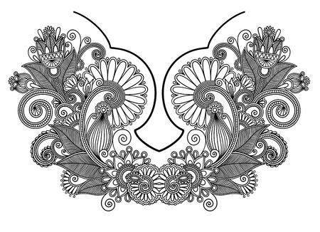 Neckline embroidery fashion  Ukrainian traditional pattern