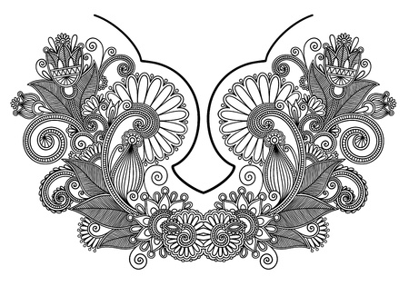 neckline: Neckline embroidery fashion  Ukrainian traditional pattern