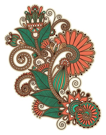 original hand draw line art ornate flower design  Ukrainian traditional style  Illustration