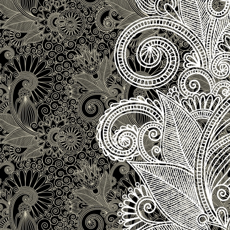 art deco background: black and white floral pattern  Illustration