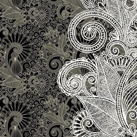 art deco design: black and white floral pattern  Illustration
