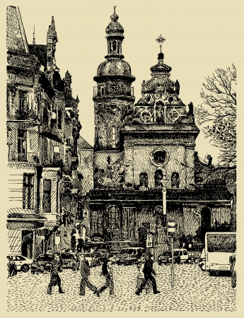 original sketchy handmade drawing of Lviv (Ukraine, Europe ) cityscape composition. I am author of this illustration Stock Vector - 14668807