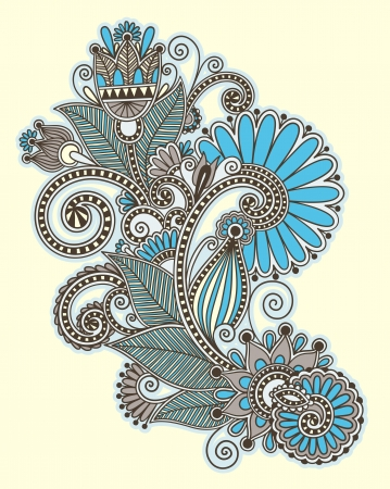ukrainian: original hand draw line art ornate flower design. Ukrainian traditional style