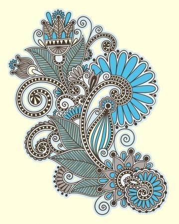 hindi: originale a mano draw line art ornate di fiori design. Ucraina stile tradizionale