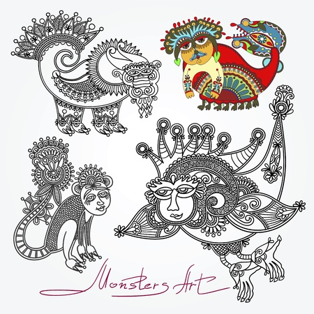 original modern cute ornate doodle fantasy monster personage collection   Karakoko style  Vector