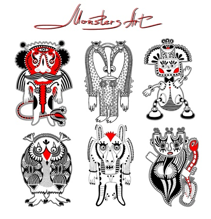 personage: original modern cute ornate doodle fantasy monster personage collection