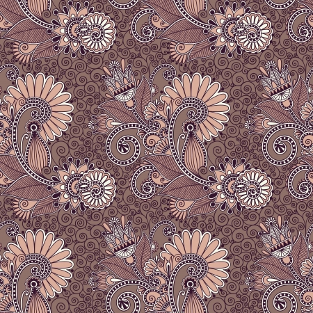 hand te trekken sierlijke naadloze bloem paisley design achtergrond Vector Illustratie