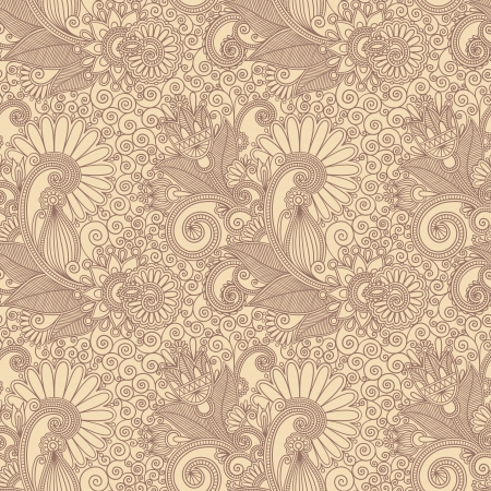 hand draw ornate seamless flower paisley design background Vector