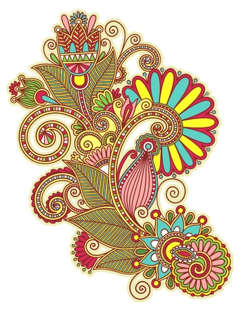 original hand draw line art ornate flower design. Ukrainian traditional style