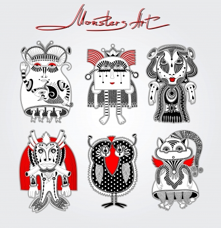 original modern cute ornate doodle fantasy monster personage collection . Karakoko style Vector