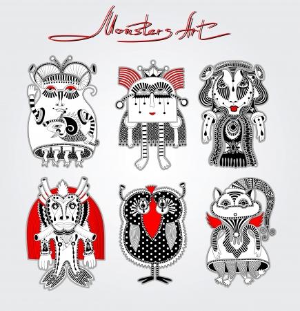 original modern cute ornate doodle fantasy monster personage collection . Karakoko style Stock Vector - 14957895