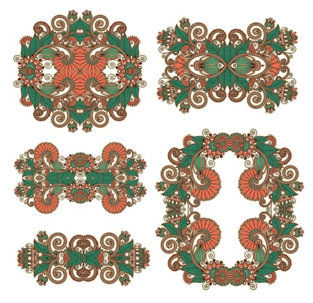 five ornamental floral adornment  Stock Vector - 14957945