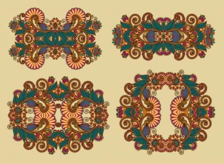 four ornamental floral adornment Vector
