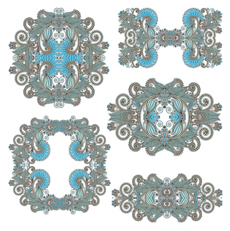 five ornamental floral adornment Vector