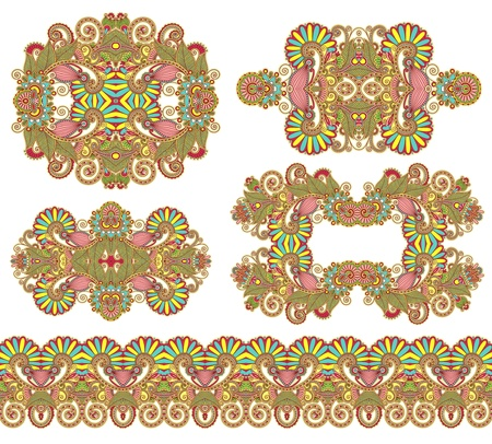 five ornamental floral adornment Vector