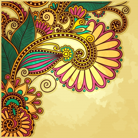 paisley background: flower design on grunge background