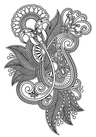 original hand draw line art ornate flower design  Ukrainian traditional style  Stock Vector - 15110609