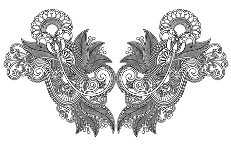 neckline: Neckline embroidery fashion. Ukrainian traditional style