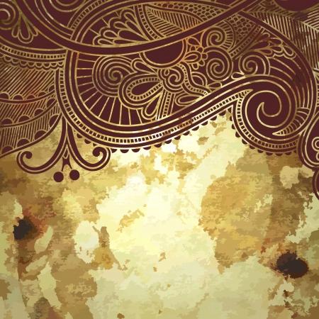 motif cachemire: conception de fleur sur fond d'or grunge