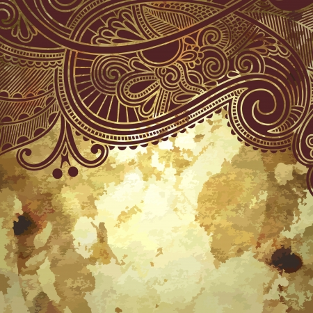 disegni cachemire: disegno del fiore su fondo oro del grunge