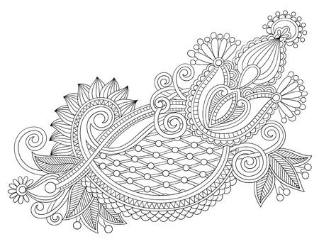 ukrainian: original hand draw line art ornate flower design. Ukrainian traditional style Illustration