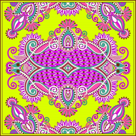 neckerchief: Traditional ornamental floral paisley bandanna. You can use this pattern in the design of carpet, shawl, pillow, cushion  Illustration