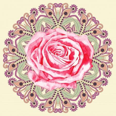 sier cirkel patroon met aquarel roos