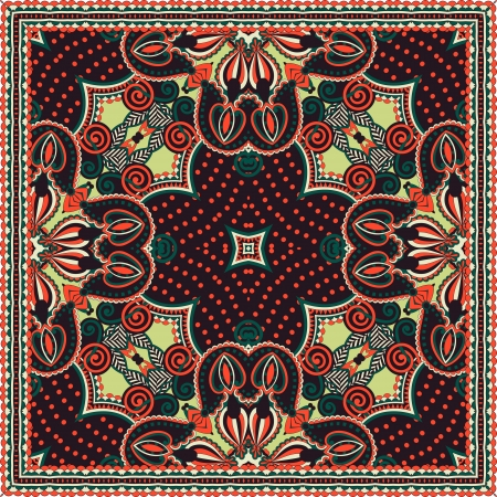 Traditional ornamental floral paisley bandanna. You can use this pattern in the design of carpet, shawl, pillow, cushion Stock Vector - 15110342