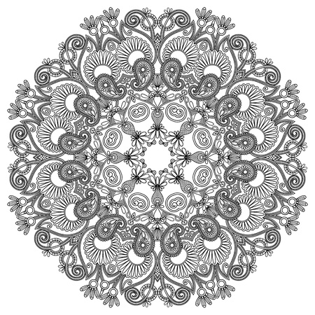 embroidery flower: black and white circle ornament, ornamental round lace