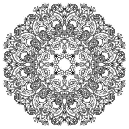 mandala tattoo: black and white circle ornament, ornamental round lace