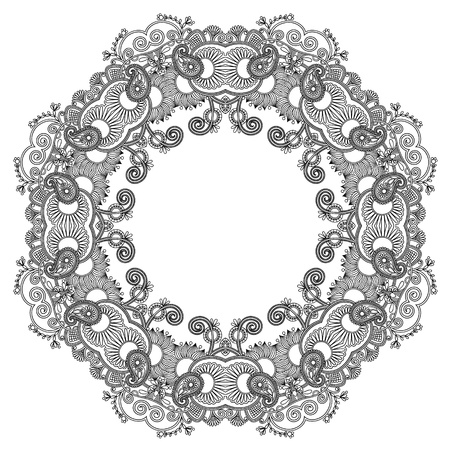 black and white circle ornament, ornamental round lace Vector