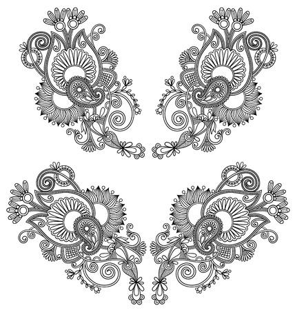 neckline: Neckline embroidery fashion. Ukrainian traditional pattern Illustration