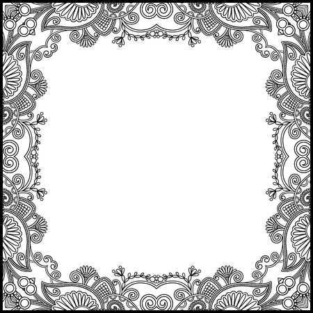 black and white floral vintage frame Stock Vector - 15110427