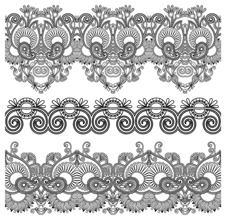 black and white collection of seamless ornamental floral stripes Stock Vector - 15110295