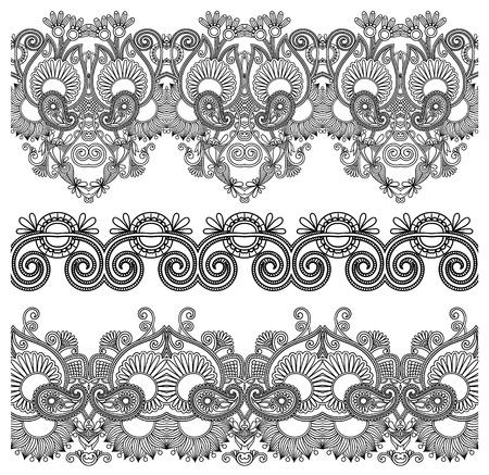 veters: zwart en wit collectie van naadloze sier bloemen strepen Stock Illustratie