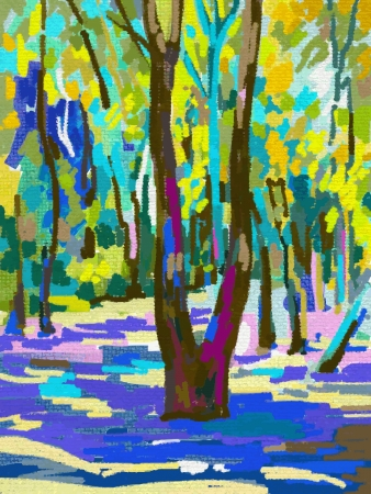 oil park: original digital painting of summer landscape