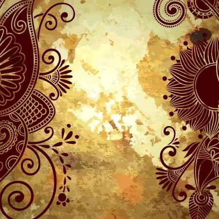 floral paisley: flower design on grunge background
