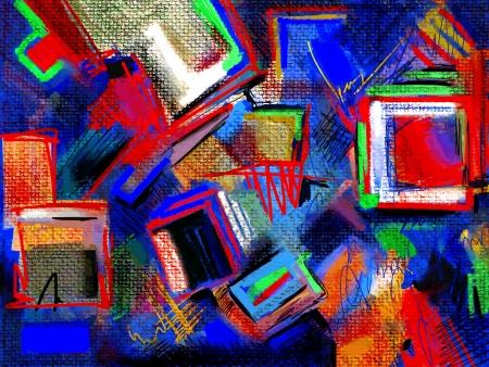 원래 손 그리기 추상 디지털 그림의 구성 일러스트