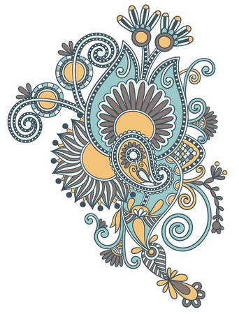 original hand draw line art ornate flower design  Ukrainian traditional style  Stock Vector - 15110461
