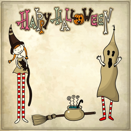 pocion: Halloween patrón dibujo esquemático con el fondo del grunge