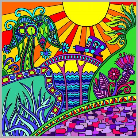 artistieke gekleurde decoratieve landschap samenstelling Vector Illustratie