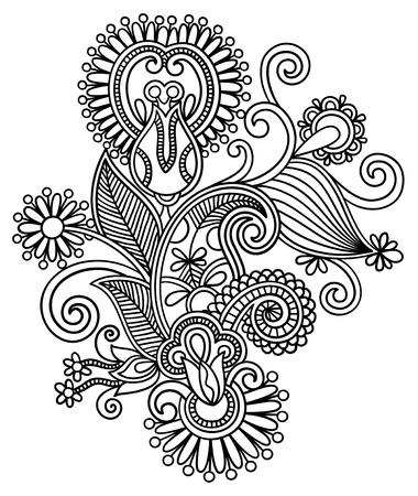 ukrainian: original hand draw line art ornate flower design  Ukrainian traditional style