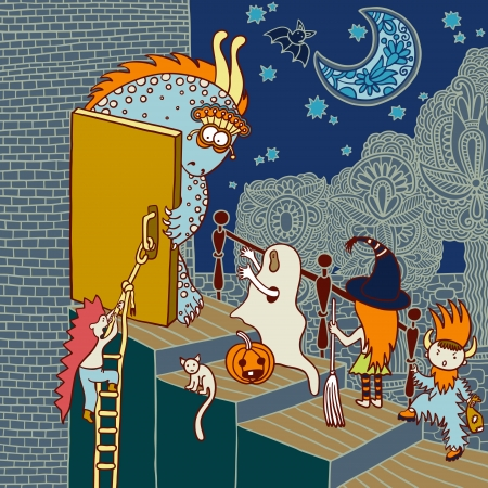 cartoon halloween: original doodle artistic halloween card