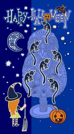 viewfinderchallenge1: original doodle artistic halloween card Illustration