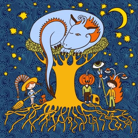 original doodle artistic halloween card  Vector