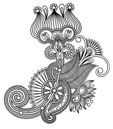 original hand draw line art ornate flower design. Ukrainian traditional style Stock Vector - 15110467